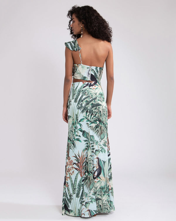 PatBo Eden Print One Shoulder Maxi
