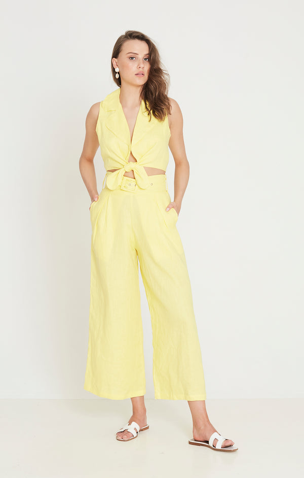 Faithfull The Brand - Lena Wide Leg Pants - Plain Lemon