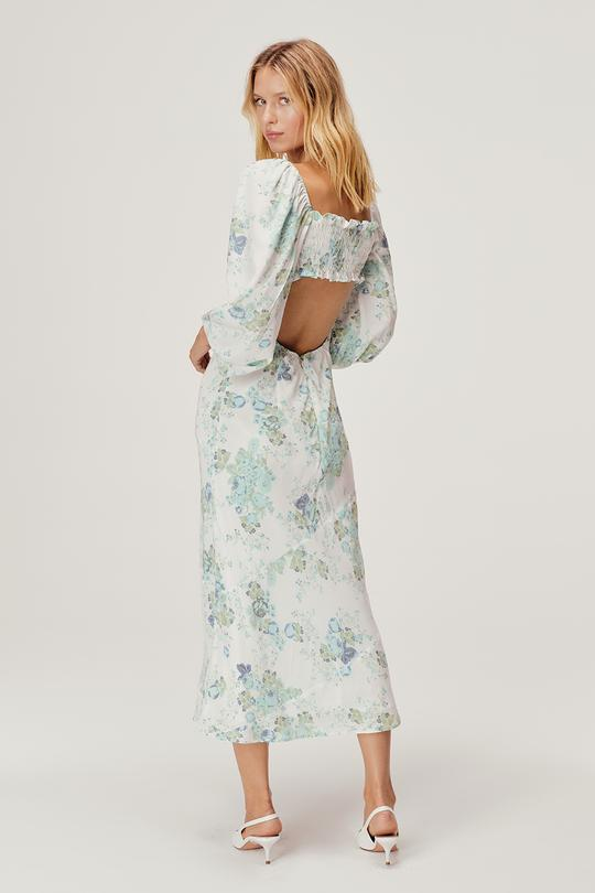 For Love & Lemons - Goldie Maxi Dress - Blue Floral