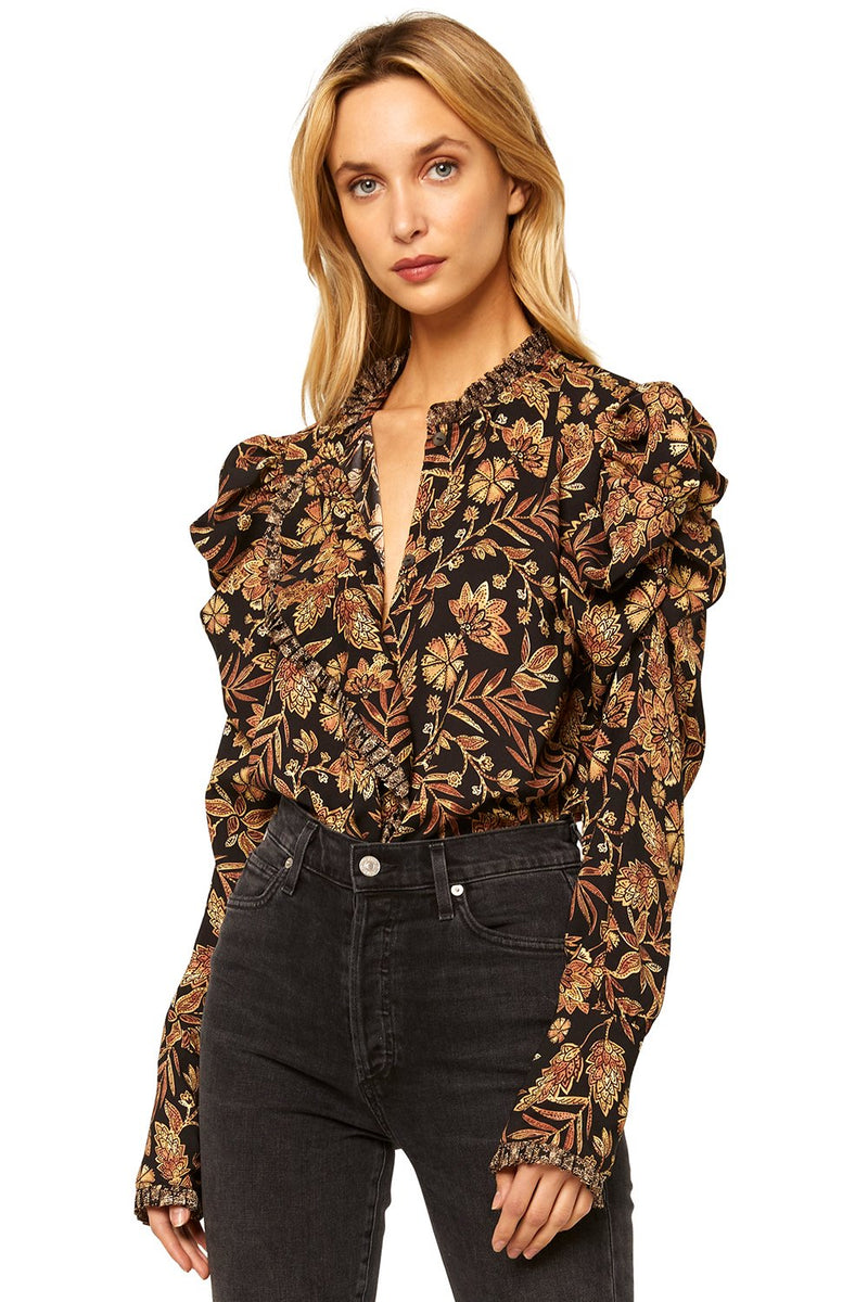 Misa - Garance Top - Gold Paisly/medallion