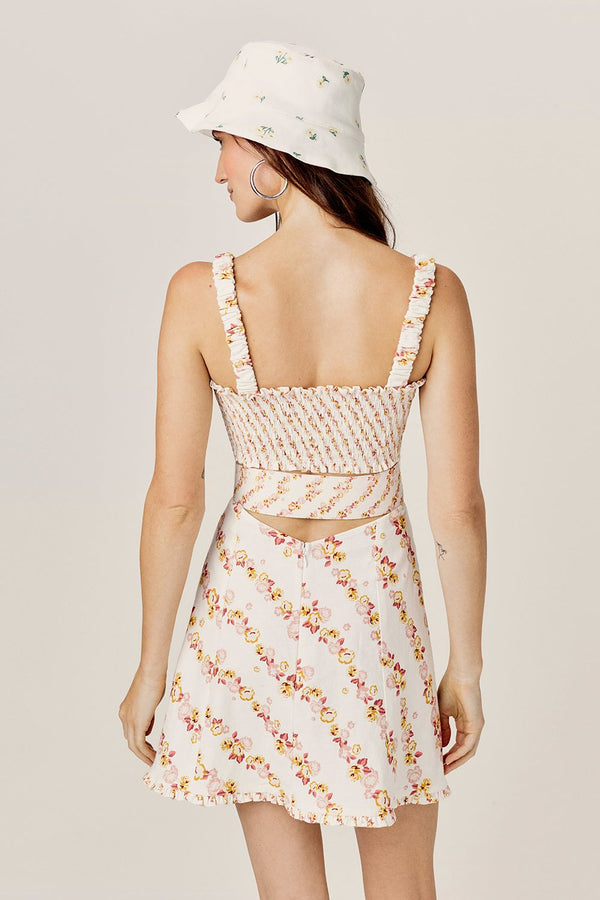 For Love & Lemons Georgia Smocked Mini Dress - Mustard