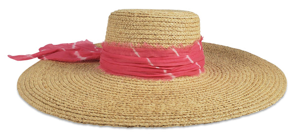 Hat Attack - Coco Sunhat - Natural Tie Dye Pink Fabric