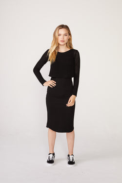 MONROW - Supersoft Mesh Mixed Double Layer Dress - Black