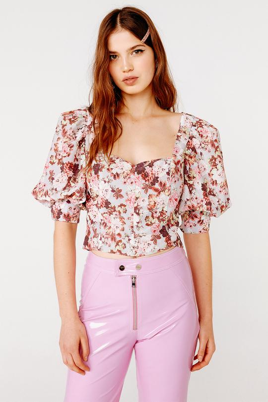 For Love & Lemons - Houston Lace Up Blouse - Country Floral