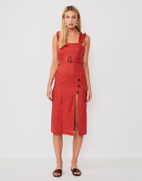 SUBOO - RISING SUN BELTED MIDI DRESS RUST