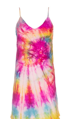 Dannijo - Tie Dye Mini Slip Dress - Neon Multi