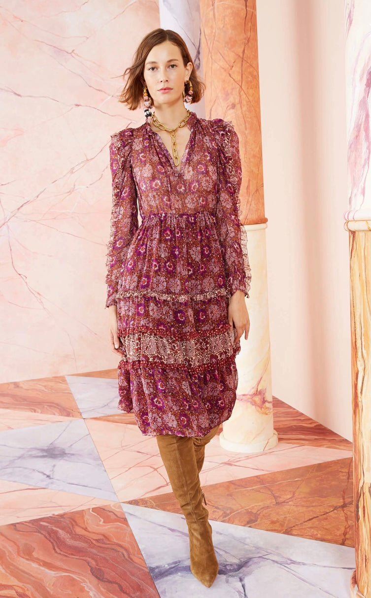 Ulla Johnson - Alessandra Dress - Claret Patchwork