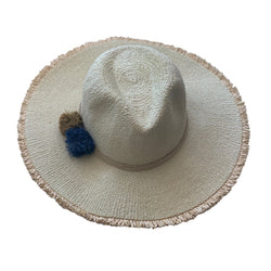 Hat Attack - Beachy Hat - Natural Ocean Raffia Poms