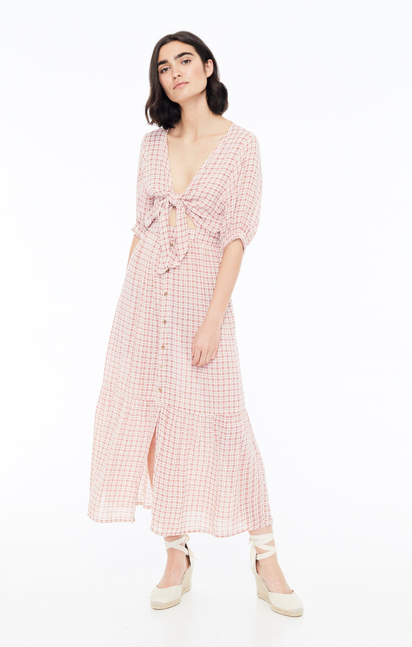 Faithfull The Brand - Maple Midi Dress - Vintage Pink Check Print