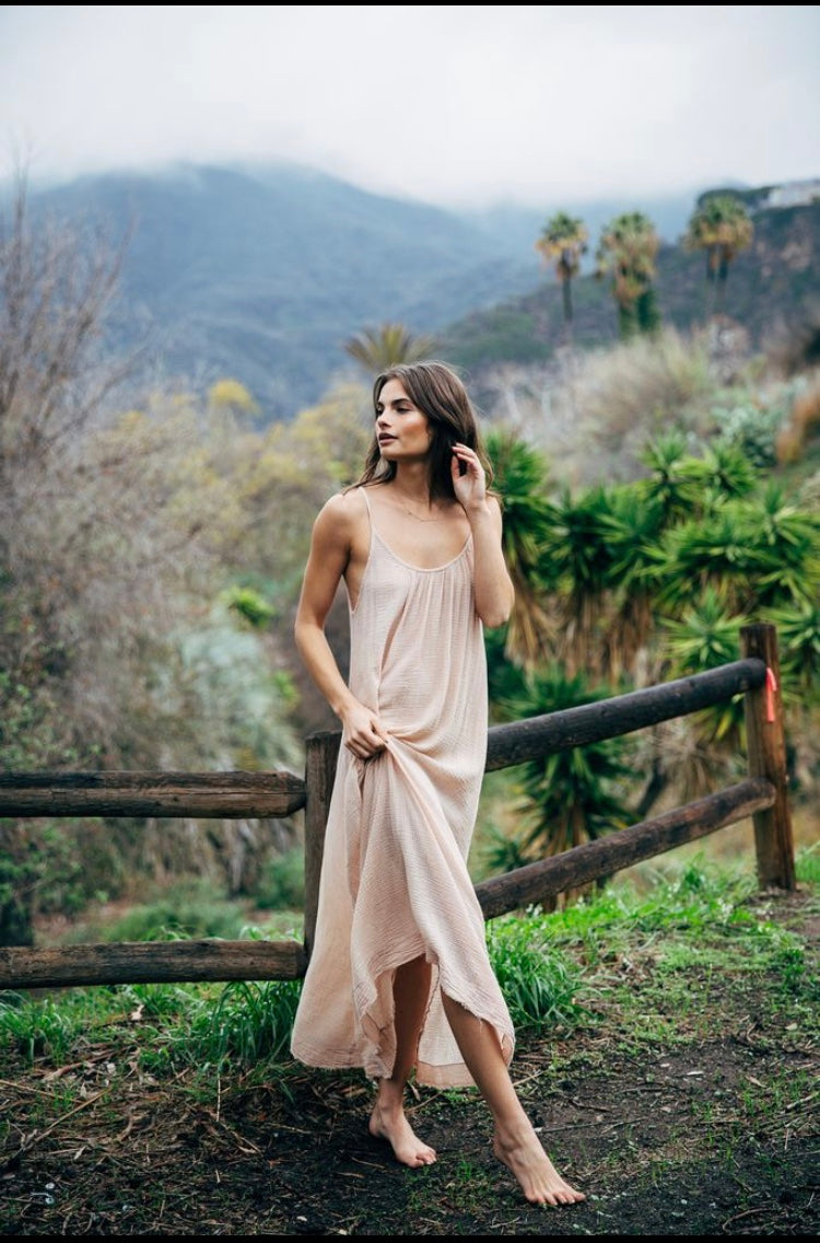 9 SEED - MYKONOS TIE STRAP MAXI DRESS - DUSTY ROSE