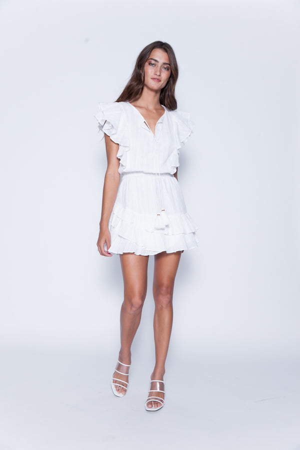 Karina Grimaldi - Raffa Metallic Mini Dress - White