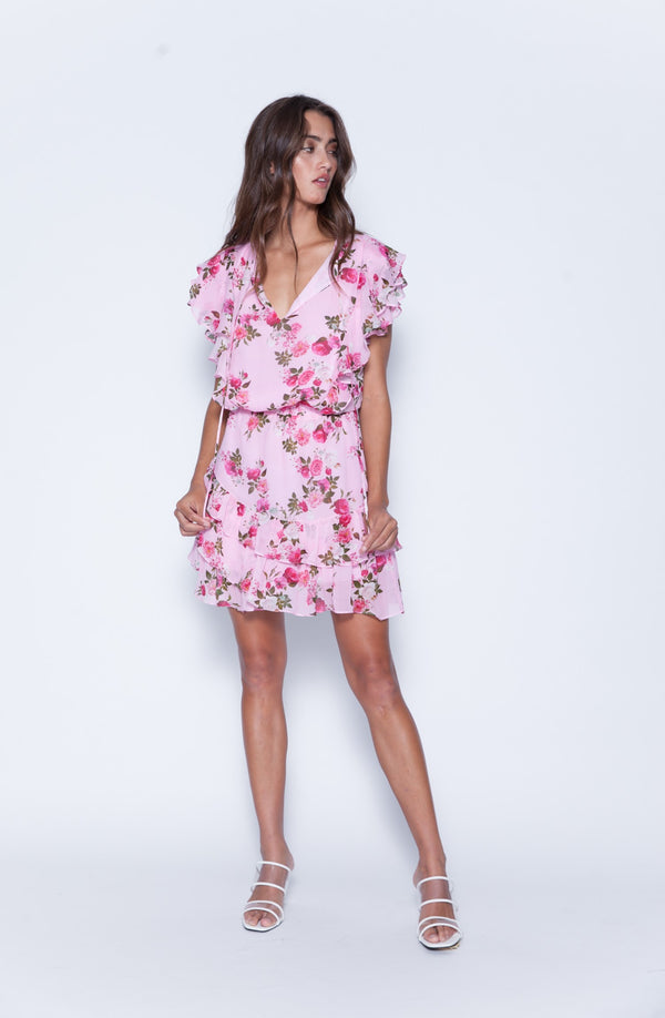 Karina Grimaldi - Raffa Print Mini Dress - Pink Roseta