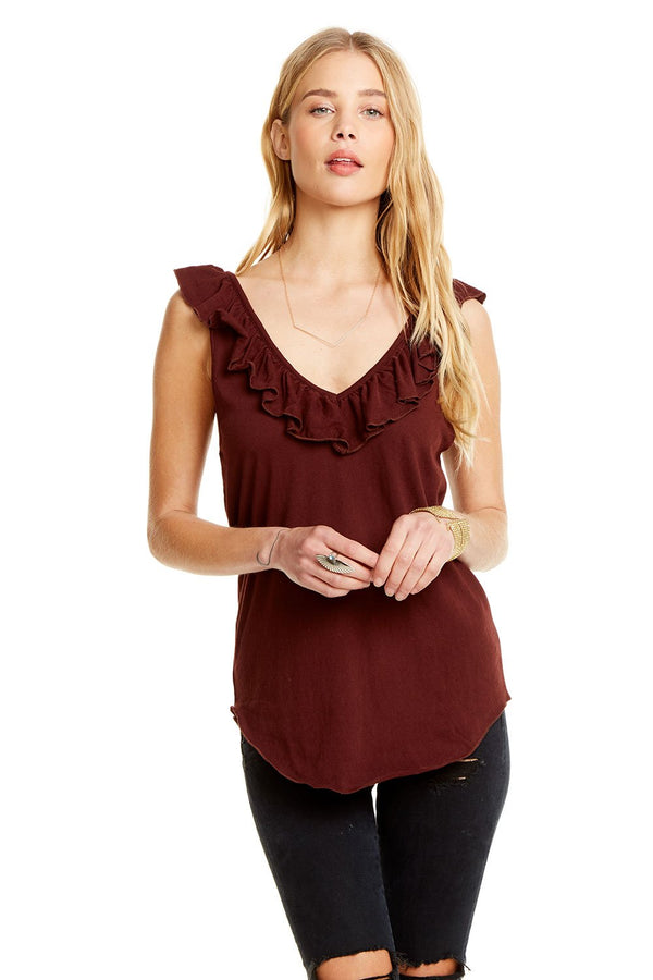 Chaser - Double Ruffle Tank - Mulberry