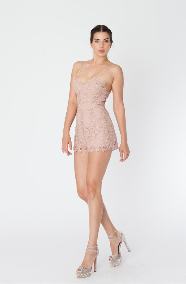Karina Grimaldi - Juliet Lace Romper - Rose Water