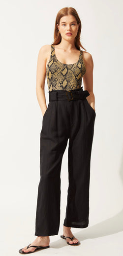 Solid & Striped - HIGH WAISTED PANTS BLACK - LINEN