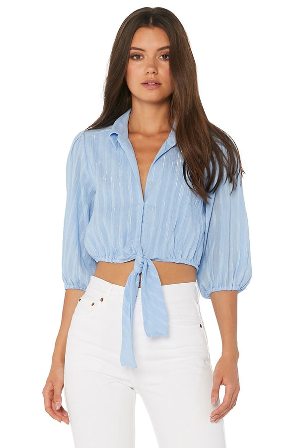 Misa - Ione Top - Light Blue/Silver