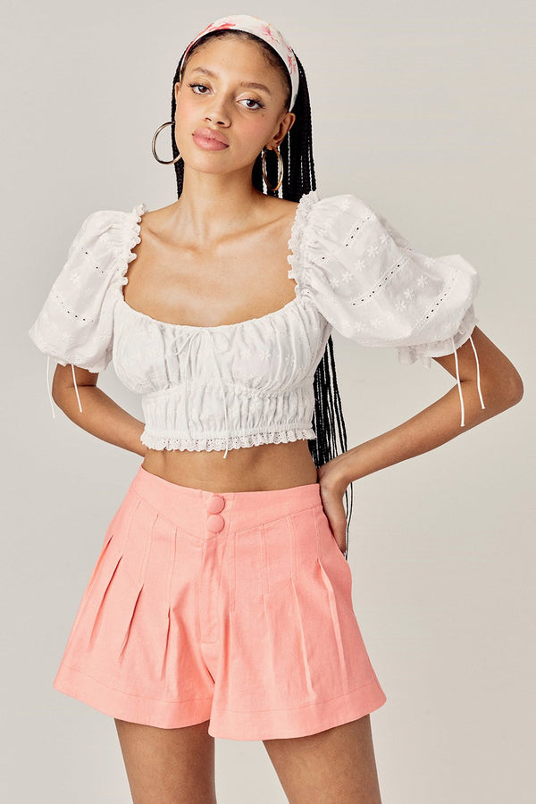 For Love & Lemons Millie Pleated Short - Mango