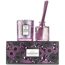 Voluspa - Japanese Plum Bloom Scalloped Edge Candle and Diffuser Gift Set