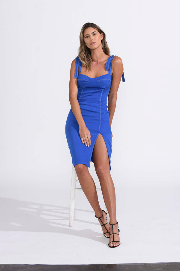 Karina Grimaldi - Alicia Solid Dress - Royal