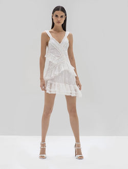 Alexis - Ladonna Asymmetrical Mini Dress - White