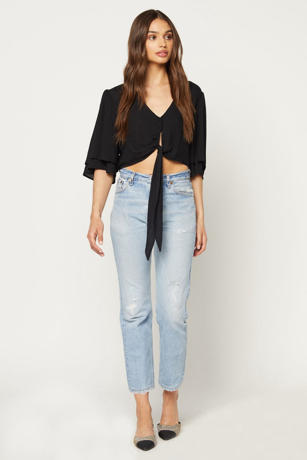 FLYNN SKYE - LILLY TOP - BLACK SHIRTING