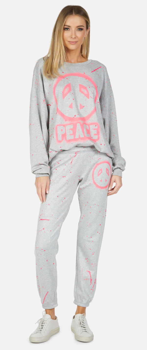 Lauren Moshi L/S Boyfriend Pullover-Pink Airbrush Peace