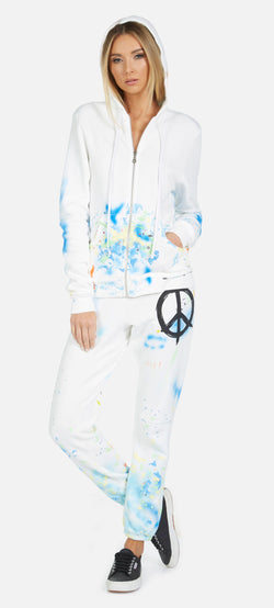 Lauren Moshi - Lennox Brush Peace Sweater - White/Paint Splatter