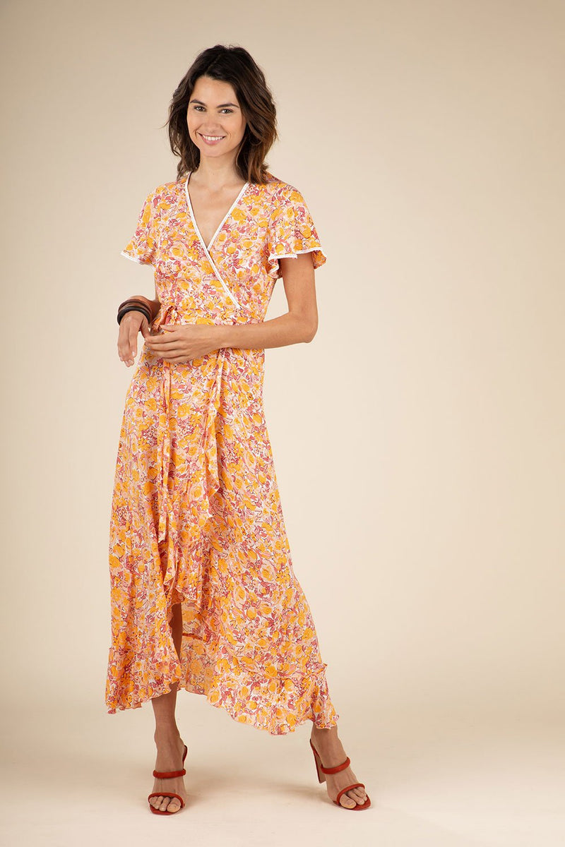 Poupette St. Barth - Long Dress Joe Ruffled  Yellow Rose