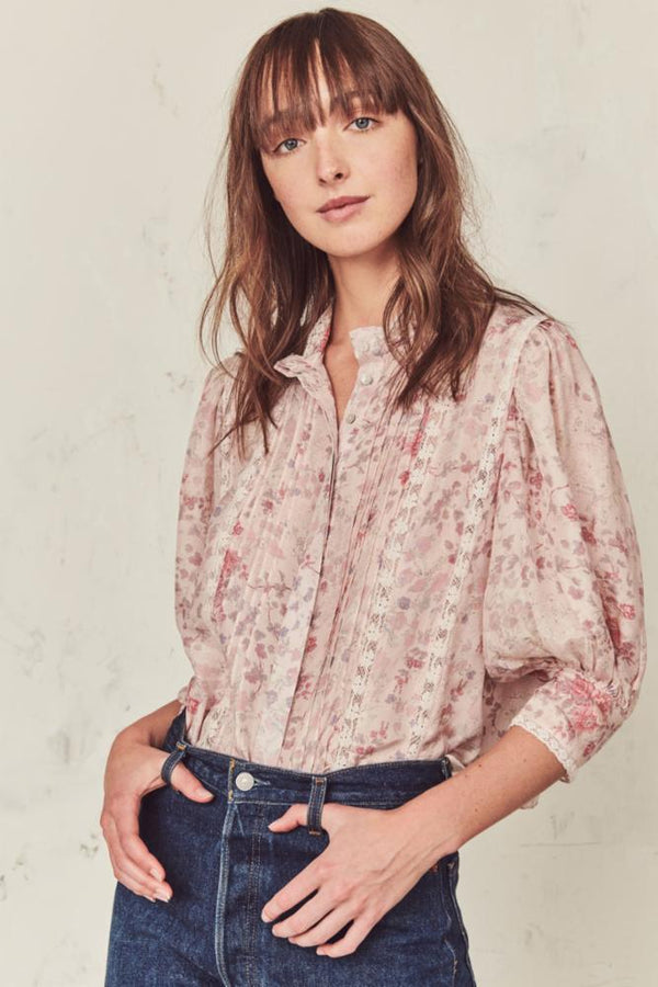 LoveShackFancy - Tegan Top - Pink Flower Bed