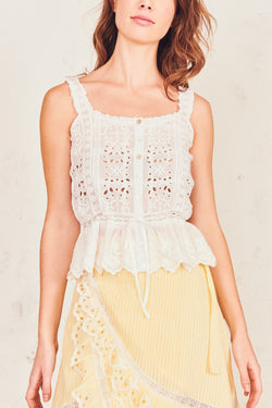 Love Shack Fancy - Luanne Tank - White
