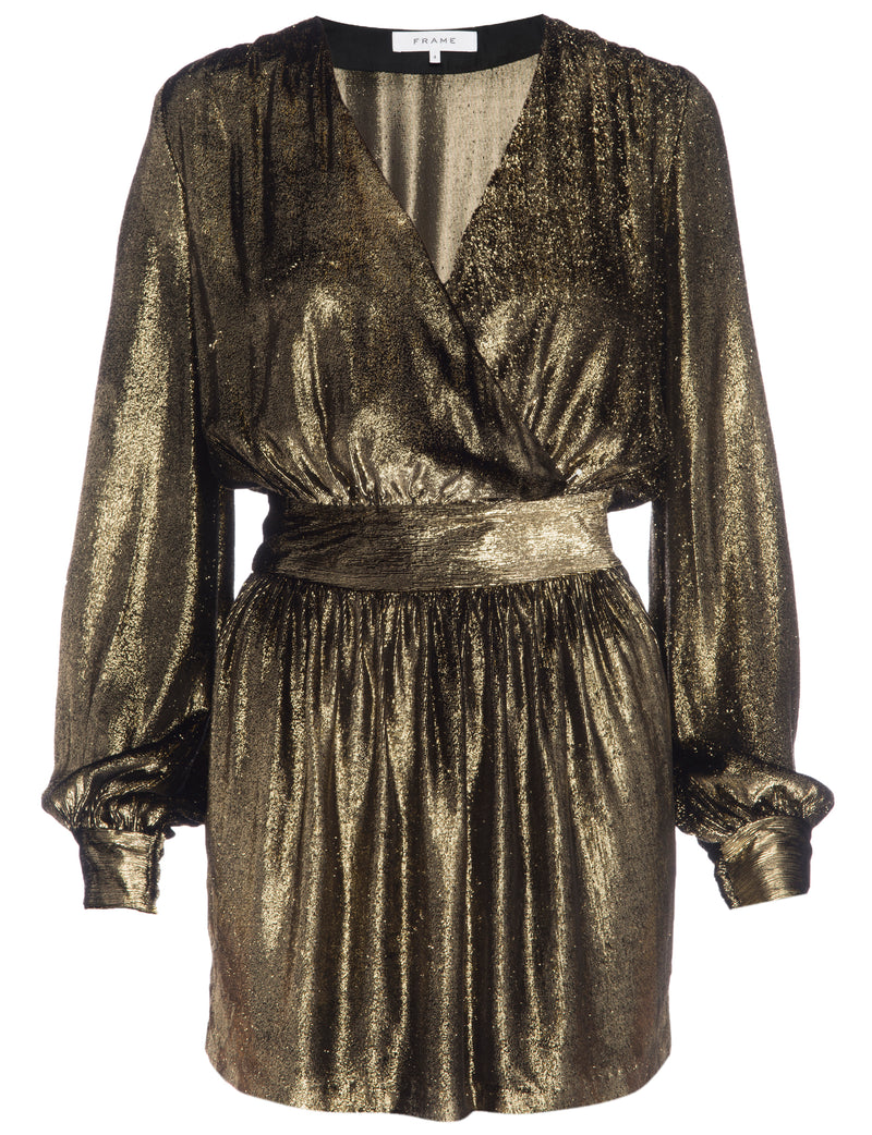 Frame - Metallic Velvet Dress - Gold
