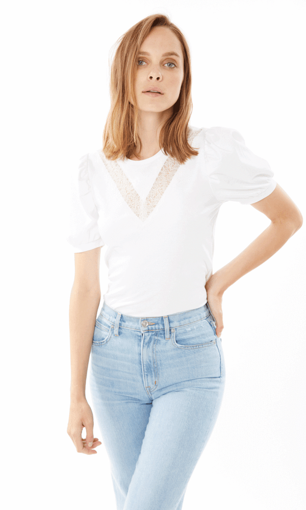 Generation Love - Lyric Lace Puff Sleeve Top - White