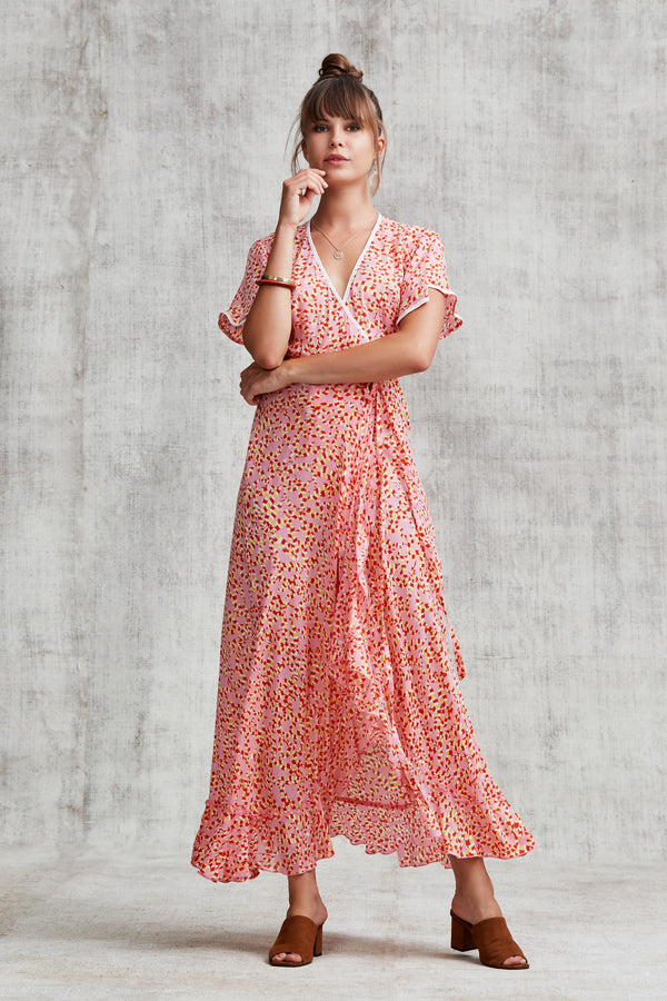 Poupette St Barth - Joe Ruffled Long Dress  - Pink Papilion