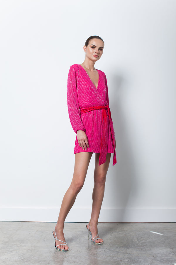 Karina Grimaldi - Garda Beaded Mini - Hot Pink