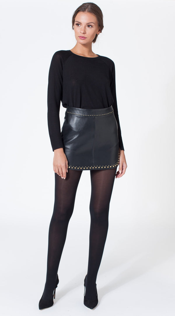 Karina Grimaldi - Simon Rock Leather Skirt - Black