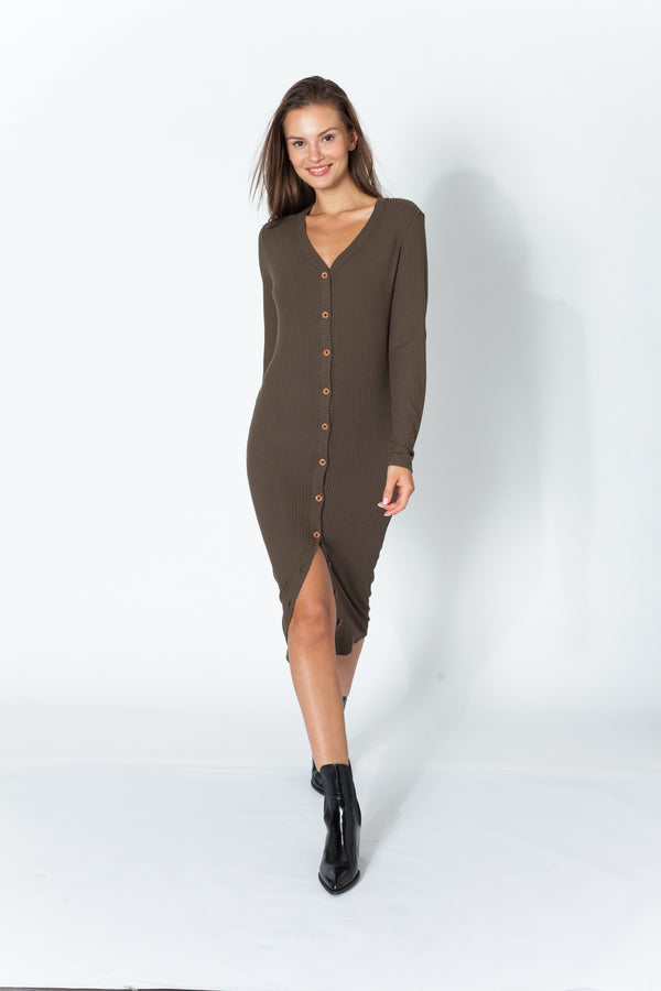 Maison T - Genevieve Buttons Dress - Military Green