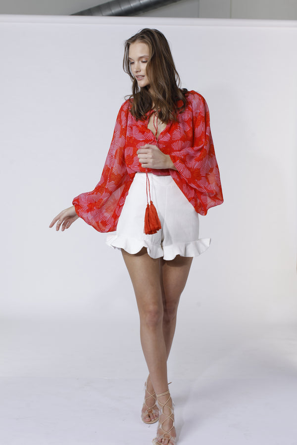 Karina Grimaldi - Vitage Print Top - Red Butterfly
