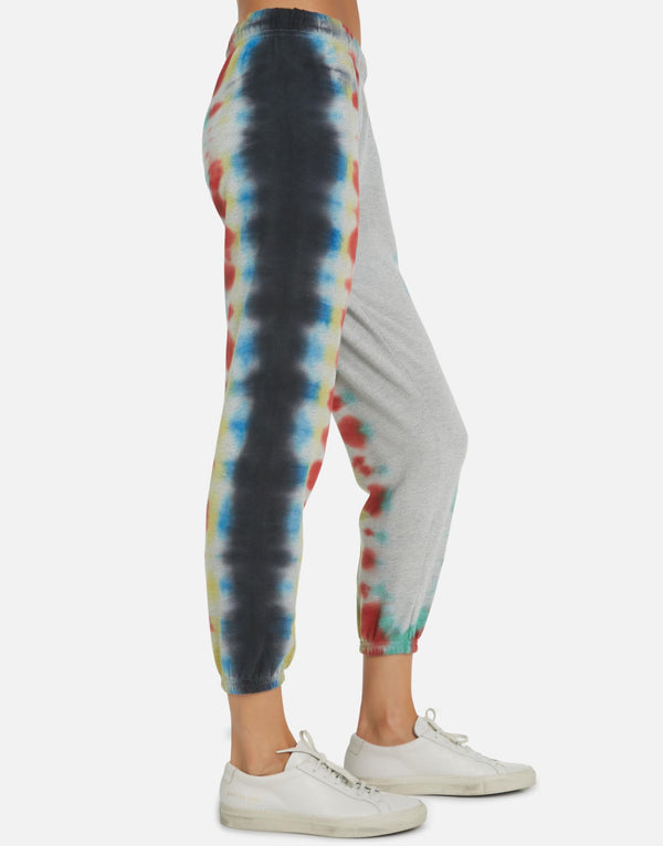 Michael Lauren - Nate Crop Sweatpant - Rainbow Stripe Tie Dye