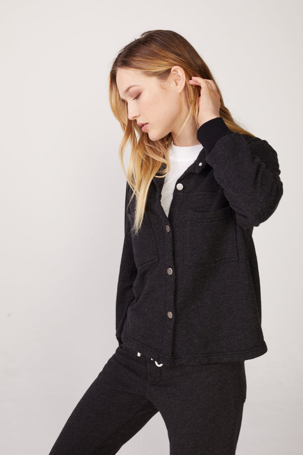 Monrow - Terry Trucker Jacket - Black