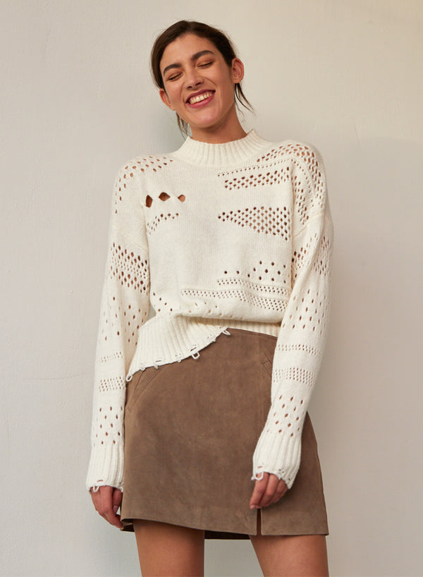 Autumn Cashmere - Distressed Mock Sweater - Ivory