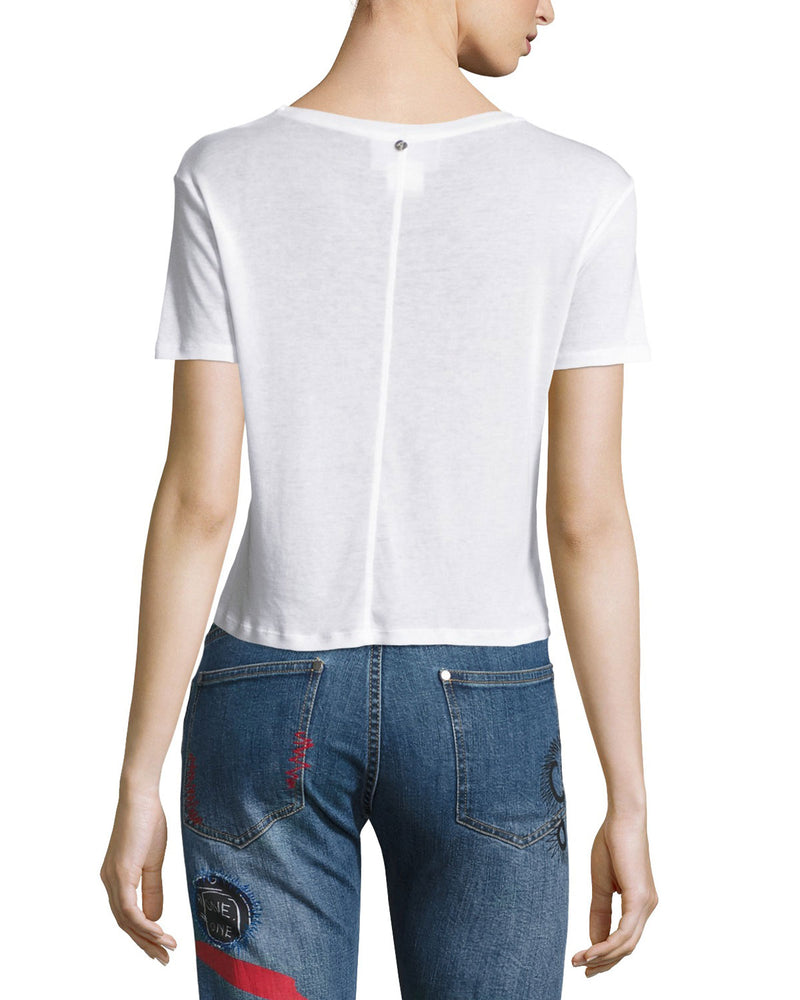 Alice + Olivia - Cindy Crewneck Cropped Tee - White
