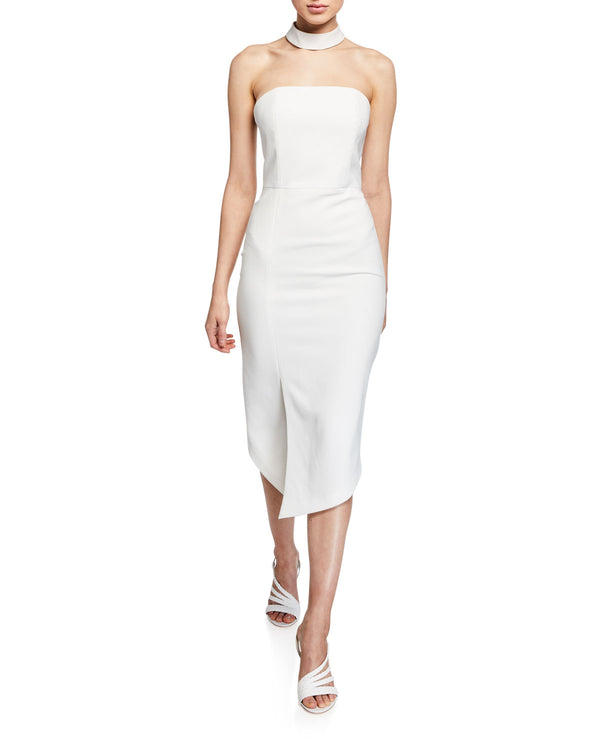 Alice + Olivia - Sia Strapless Choker Dress - Off White