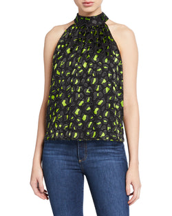 Alice + Olivia - Kinsley Halter Top - Abstract Leopard