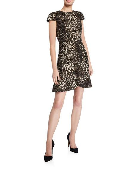 Alice + Olivia - KIRBY RUFFLE SS DRESS - Leopard