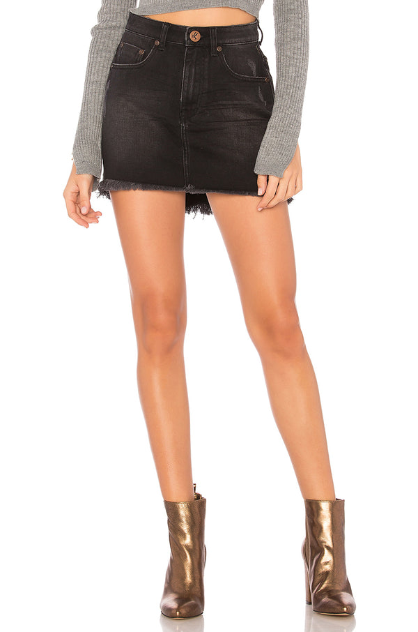 One teaspoon - 2020 mini high waist denim skirt - black wednesday