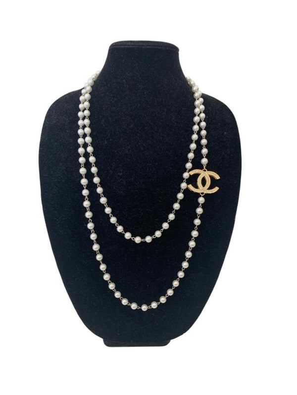 Suzy T Designs - Vintage Chanel Broach on Pearls - Gold