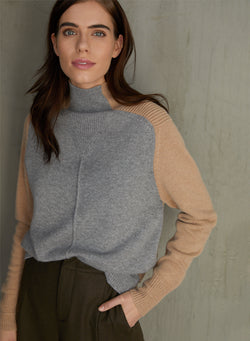 Autumn Cashmere - Color Block Moto Funnel Sweater - Cement/Cork