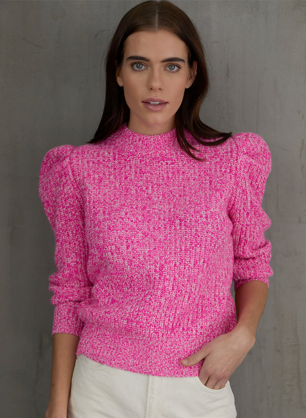 Autumn Cashmere - Tweed 3/4 Puff Sleeve Crew - Hyper Pink