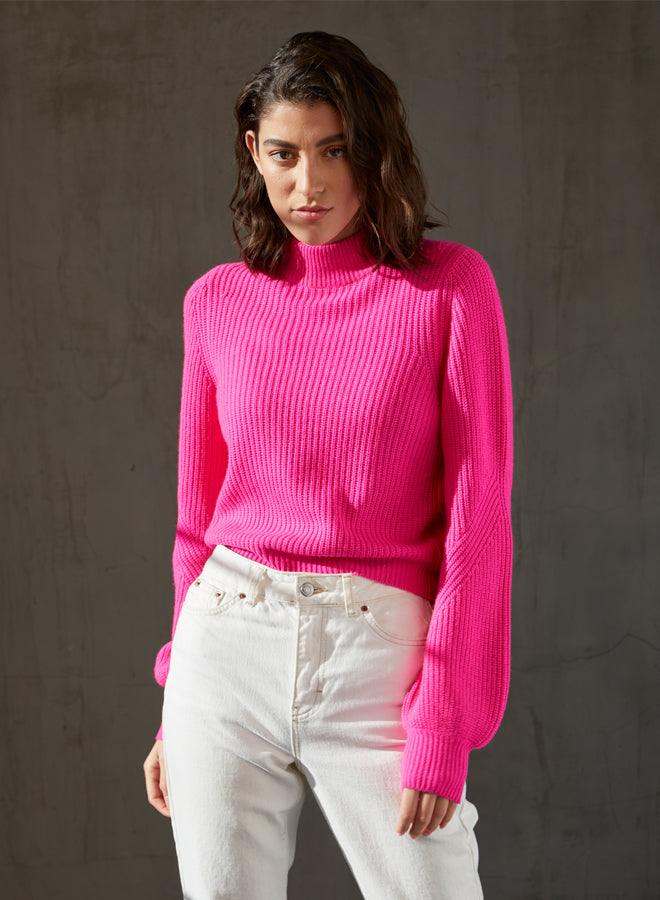 Autumn Cashmere - Shaker Full Fashioned Mock Sweater - Hyper Pink