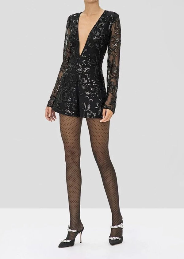 ALEXIS - RISO ROMPER - BEADED BLACK